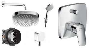 Podtynkowy zestaw prysznicowy z deszczownicą Logis E180