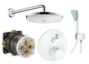 Biały podtynkowy termostatyczny zestaw prysznicowy Balance