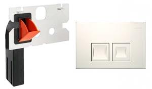 Zestaw do spłuczki Geberita UP100 przycisk Delta50 biała + kostkarka