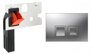 Zestaw przycisk Delta50 chrom mat z pojemnikiem na kostki