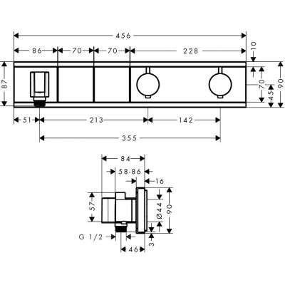 Rysunek techniczny baterii RainSelect 15355000-image_Hansgrohe_15355000_3