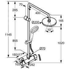 Wymiary termostatycznego zestawu prysznicowego Kludi DualShower 660950500-image_Kludi_6609505-00_3