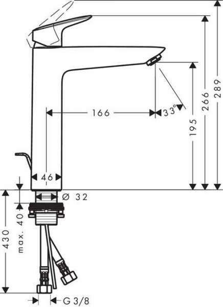 Wymiary techniczne baterii umywalkowej Hansgrohe Logis 71090000-image_Hansgrohe_71090000_5
