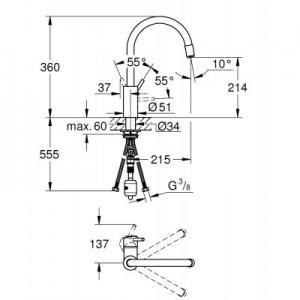 Dane techniczne baterii kuchennej Grohe Concetto 32663003-image_Grohe_32663003_2