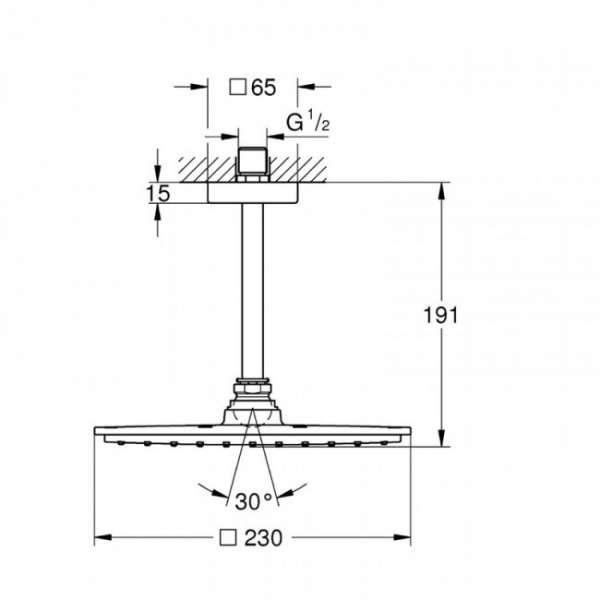 Wymiary techniczne zestawu prysznicowego Grohe Rainshower 26065000 -image_Grohe_26065000_4