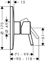 Rysunek techniczny baterii Hansgrohe Talis S2 32674000-image_Hansgrohe_32674000_3