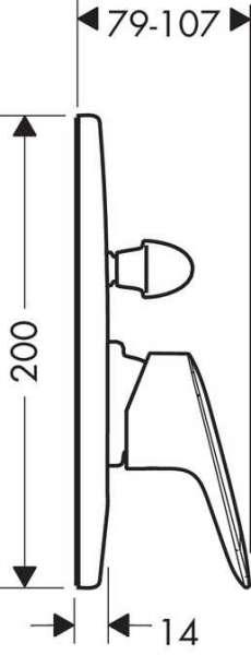 Rysunek techniczny baterii wannowej Hansgrohe Logis 71406000-image_Hansgrohe_71406000_3