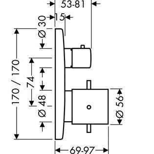 Wymiary techniczne podtynkowej baterii wannowej termostatycznej Hansgrohe Axor Starck X 10726000-image_Hansgrohe_10726000_3