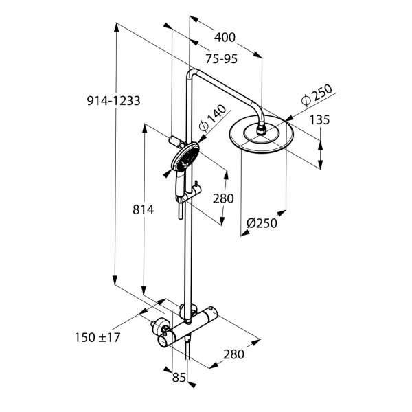 Wymiary techniczne zestawu Kludi Dual Shower Freshline 6709205-00-image_Kludi_6709205-00_3