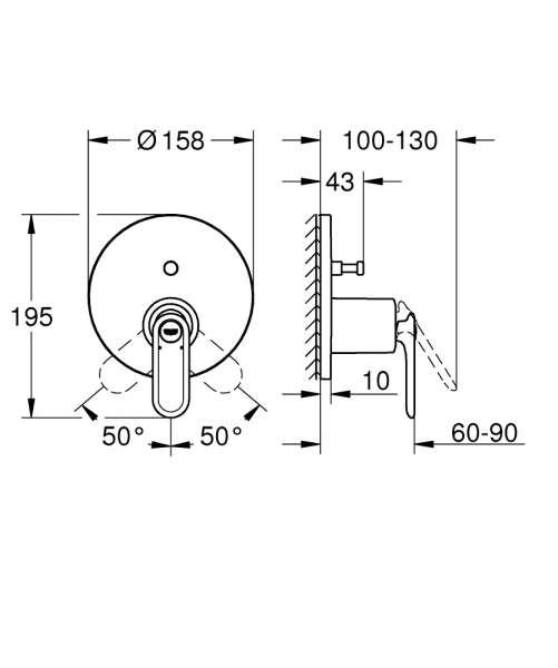 Wymiary techniczne baterii wannowej Grohe Veris 24074000 -image_Grohe_24074000_2