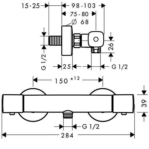 Rysunek techniczny baterii Versostat 15365000-image_Hansgrohe_15365000_2