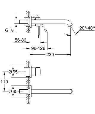Wymiary techniczne podtynkowej baterii Grohe Essence 19967001 z długą wylewką.-image_Grohe_19967001_3