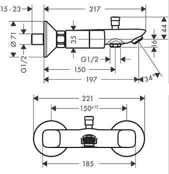 Rysunek techniczny bateri wannowej Hansgrohe Logis 71243000-image_Hansgrohe_71243000_3
