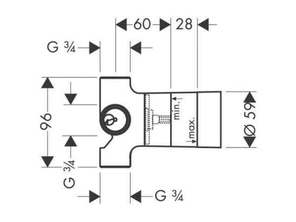 Rysunek techniczny przyłącznika Hansgrohe 15930180-image_Hansgrohe_15930180_3