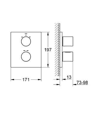 Wymiary techniczne podtynkowej baterii termostatycznej Grohe Grohtherm 3000 19567000 -image_Grohe_19567000_5