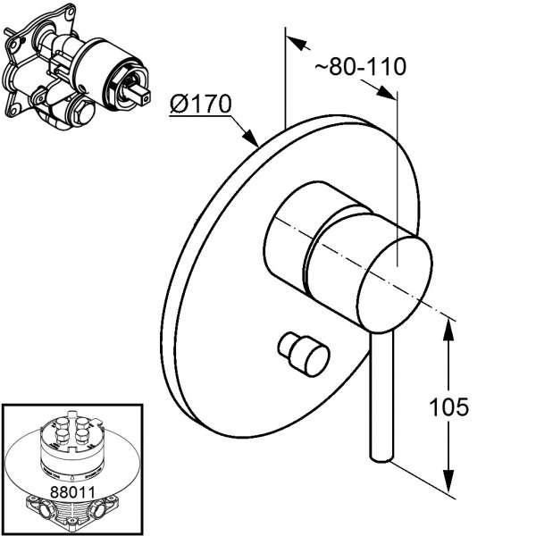 Wymiary natryskowej baterii podtynkowej Kludi Bozz 386550576-image_Kludi_386550576_4
