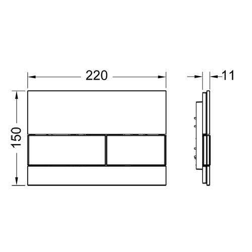 Rysunek techniczny przycisku spłukującego Tece Square 9.240.805-image_Tece_9.240.805_3