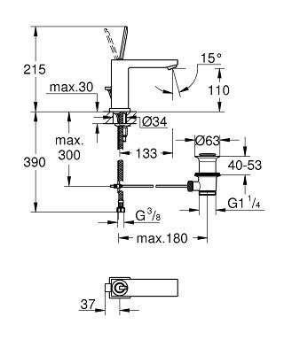 Wymiary techniczne baterii umywalkowej Grohe Eurocube Joy 23657000-image_Grohe_23657000_4