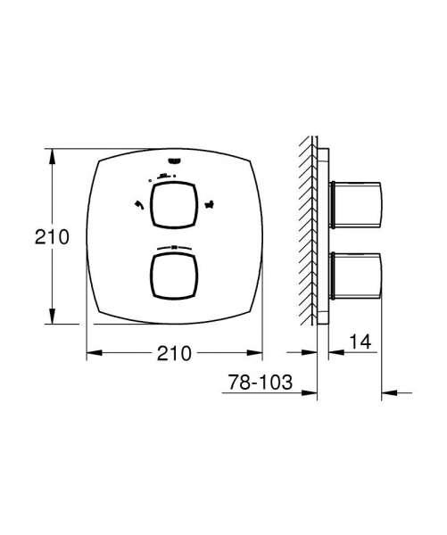 Wymiary techniczne baterii do wanny Grohe Grandera 19948000-image_Grohe_19948000_4