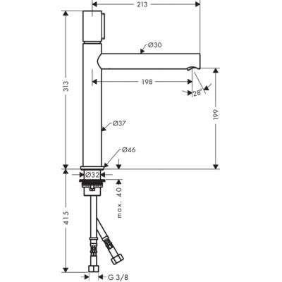 Wymiary techniczne baterii Uno 45013000-image_Hansgrohe_45013000_2