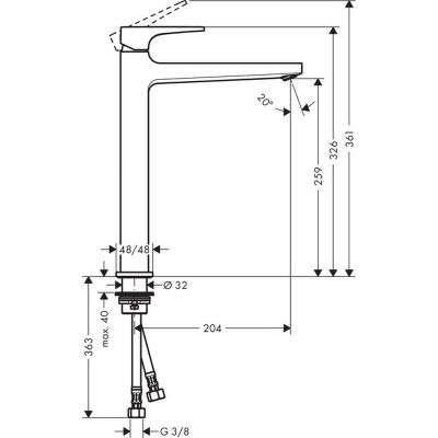 Rysunek techniczny wysokiej baterii umywalkowej Metropol 32512000-image_Hansgrohe_32512000_4