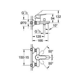 Wymiary techniczne natynkowej baterii wannowo-prysznicowej Grohe Bauedge 23334000.-image_Grohe_23334000_3