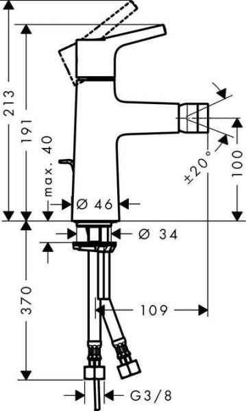 Rysunek techniczny baterii bidetowej Hangrohe Talis S 72200000-image_Hansgrohe_72200000_3