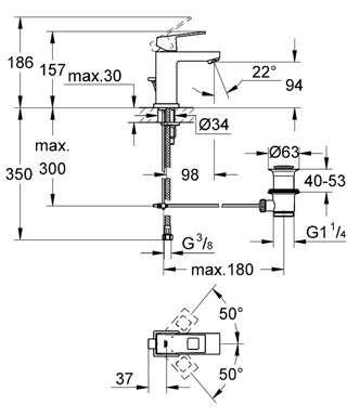 Wymiary techniczne baterii umywalkowej Grohe Eurocube 2312700-image_Grohe_23127000_4