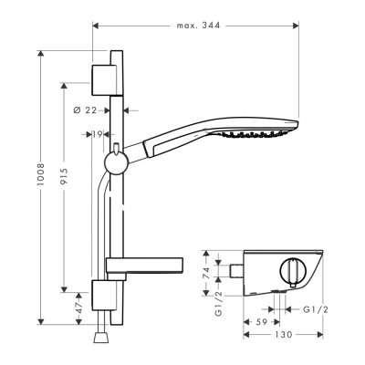 Rysunek techniczny Ecostat Select S150 -image_Hansgrohe_27037000_3