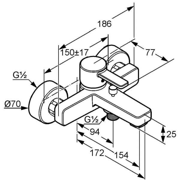Wymiary techniczne baterii wannowo-natryskowej Kludi Zenta 386700575-image_Kludi_386700575_4