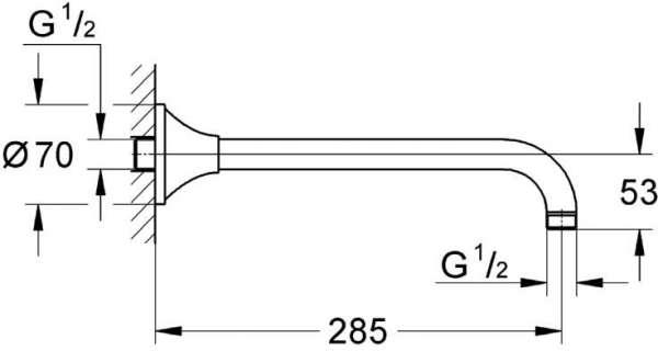 Wymiary techniczne ramienia Grohe Grandera 27986000 -image_Grohe_27986000_3