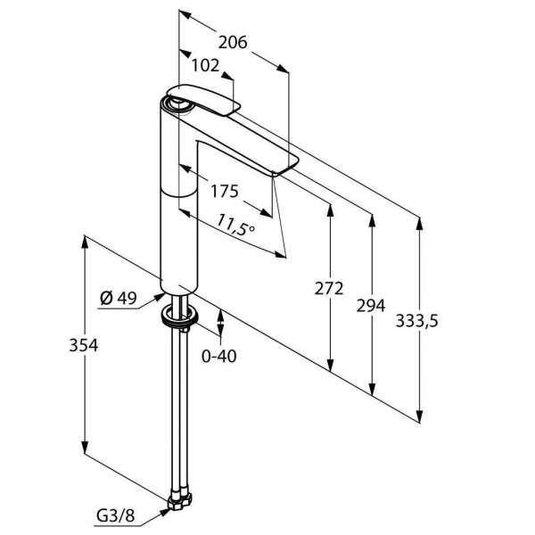 Wymiary techniczne baterii umywalkowej Kludi Balance 522980575-image_Kludi_522980575_3