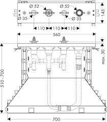 Rysynek techniczny podstawowego zestawu do baterii Hansgrohe Axor 14445180-image_Hansgrohe_14445180_3