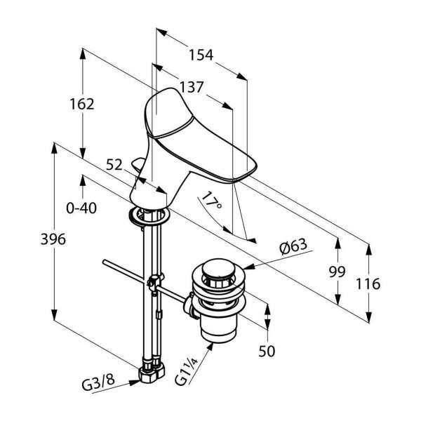 Wymiary techniczne baterii umywalkowej Kludi Ambienta 530230575-image_Kludi_530230575_3