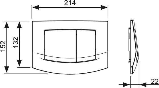 Wymiary techniczne przycisku tece Ambia biały antybakteryjny-image_Tece_9.240.240_4