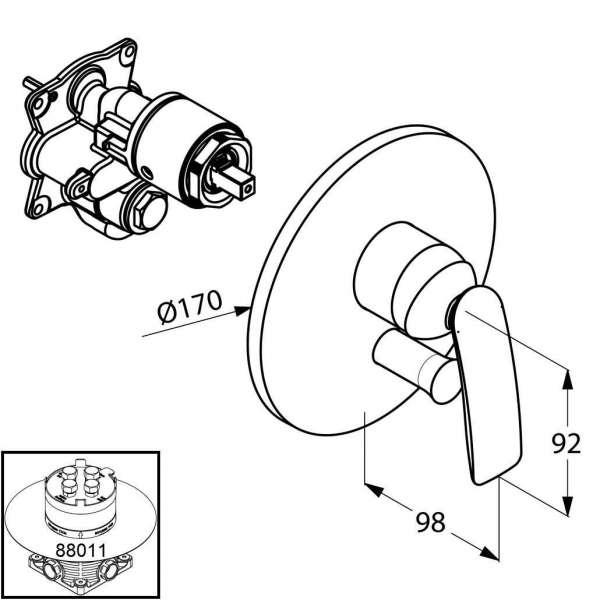 Wymiary techniczne baterii wannowej podtynkowej Kludi Balance 526500575, element zewnętrzny do 88011.-image_Kludi_526500575_3