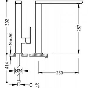 Wymiary techniczne baterii kuchennej Tres Loft 200.440.01-image_Tres_20044001_2