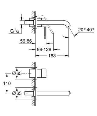 Wymiary techniczne baterii 2-otworowa Grohe Essence New 19408001-image_Grohe_19408001_4