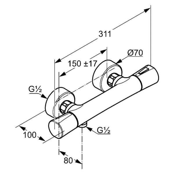 Wymiary techniczne baterii prysznicowej Kludi Zenta 351000538-image_Kludi_351000538_4