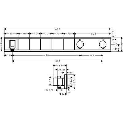 Wymiary techniczne baterii 15358400-image_Hansgrohe_15358400_3