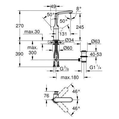 Wymiary techniczne baterii umywalkowej Grohe Veris 32184000 -image_Grohe_32184000_3