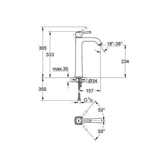 Wymiary baterii umywalkowej Grohe Grandera 23313000-image_Grohe_23313000_4