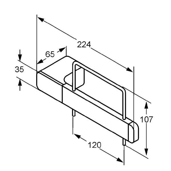 Rysunek techniczny uchwytu na papier Kludi E2 4997105-image_Kludi_4997105_3