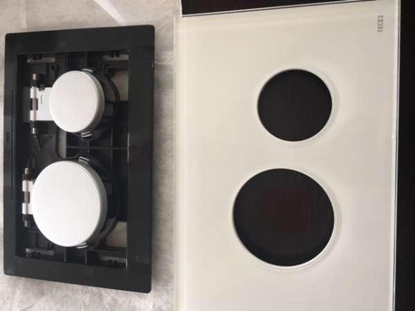 TECEloop klapka spłukująca szkło białe, przyciski chrom matowy