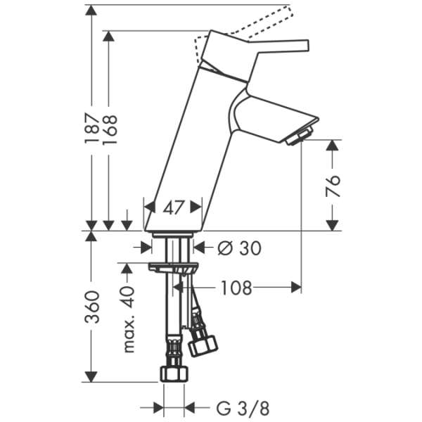 Rysunek techniczny baterii Hansgrohe Talis S2 32041000-image_Hansgrohe_32041000_3