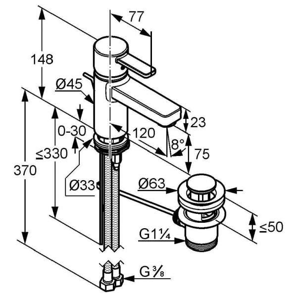 Wymiary techniczne baterii umywalkowej Kludi Zenta 382600575-image_Kludi_382600575_4