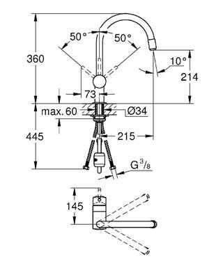Wymiary techniczne baterii kuchennej Grohe Minta 32918000-image_Grohe_32918000_3