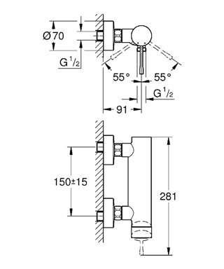 Wymiary techniczne baterii prysznicowej Grohe Essence 33636001-image_Grohe_33636001_4