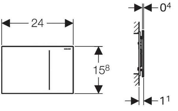 Rysunek techniczny szklanego przycisku spłukującego Geberit Sigma 70 do UP320 115.620.SI.1-image_Geberit_115.620.SI.1_3