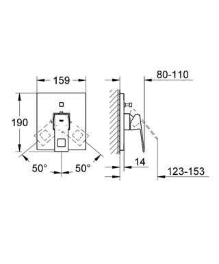 Wymiary techniczne baterii podtynkowej Grohe Eurocube 19896000 do wanny obsługującej 2 odbiorniki.-image_Grohe_19896000_4